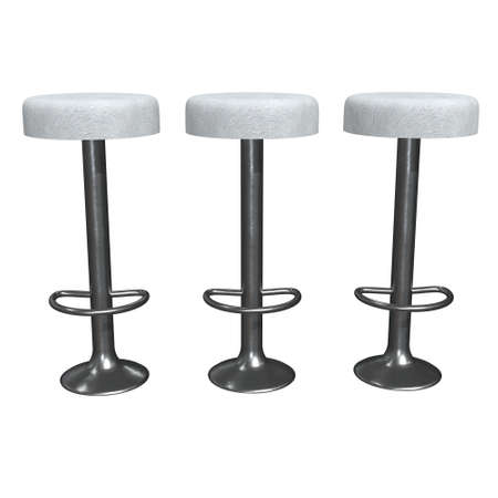 Retro vintage bar stool. High chair. Bar interior design. 3d render isolated on white background