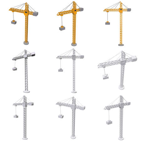 Tower construction building crane set. 3d render low poly isolated on white background Zdjęcie Seryjne