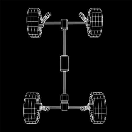 Chassis steering rack. Wireframe low poly mesh vector illustration. Auto service repair car concept. Zdjęcie Seryjne