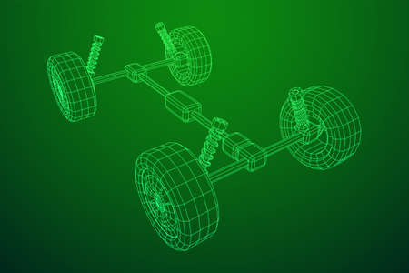 Chassis steering rack. Wireframe low poly mesh vector illustration. Auto service repair car concept. Ilustracja