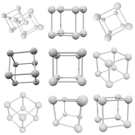 Molecule Grid. Connection Structure Set. 3d render illustration isolated on white background. Science and medical healthcare concept