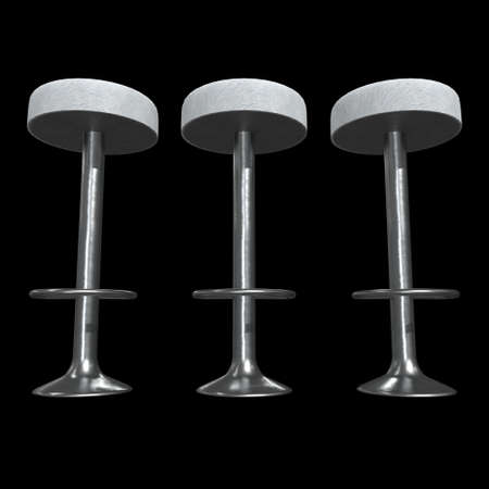 Retro vintage bar stool. High chair. Bar interior design. 3d render on black background