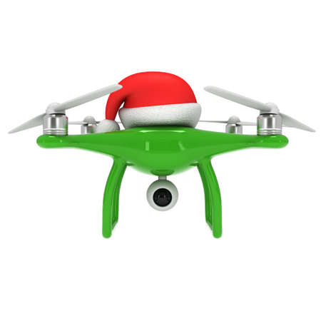 Remote control air drone. Dron flying with action video camera and christmas hat. 3d render illustration on white 스톡 콘텐츠