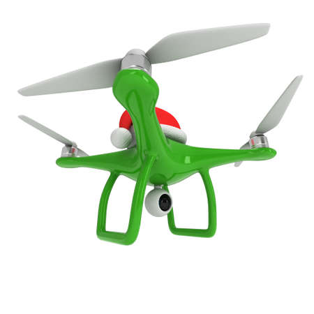 Remote control air drone. Dron flying with action video camera and christmas hat. 3d render illustration on white 스톡 콘텐츠 - 133571743