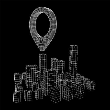 Geo map pin on Mesh low poly wireframe cubes array like skyscraper city. Connected lines town. Connection Box Structure. Digital Data Visualization Concept. Vector Illustration. Place GPS pictogram.