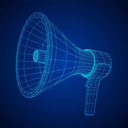 Megaphone or bullhorn for amplifying voice for protests rallies or public speaking. Wireframe low poly mesh vector illustration Stock fotó - 133559131