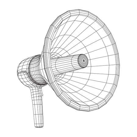 Megaphone or bullhorn for amplifying voice for protests rallies or public speaking. Wireframe low poly mesh vector illustration Stock fotó - 133559132