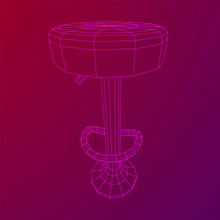 Retro vintage bar stool. High chair. Bar interior design. Wireframe low poly mesh vector illustration