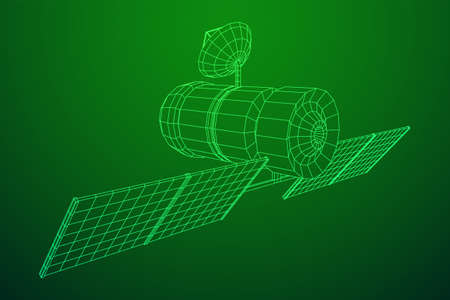 Space station communications satellite. Wireframe low poly mesh vector illustration. Фото со стока - 133559224