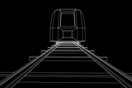 Tren moderno de alta velocidad sobre raíles rectos. Ilustración de vector de malla de polietileno baja estructura metálica de ferrocarril Ilustración de vector