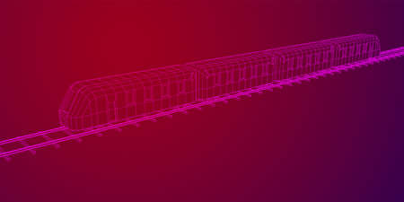 Modern high speed train on straight rails. Railway wireframe low poly mesh vector illustration Фото со стока - 133637861