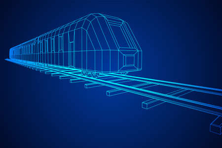 Modern high speed train on straight rails. Railway wireframe low poly mesh vector illustration Фото со стока - 133637862
