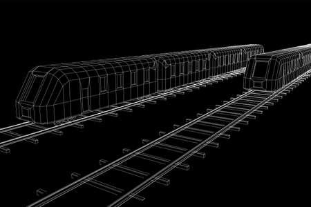Modern high speed train on straight rails. Railway wireframe low poly mesh vector illustration Фото со стока - 133637864