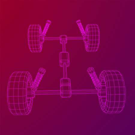 Chassis steering rack. Wireframe low poly mesh vector illustration. Auto service repair car concept. Illusztráció