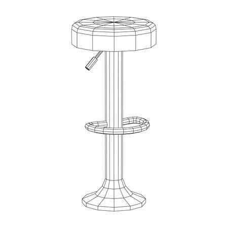 Retro vintage bar stool. High chair. Bar interior design. Wireframe low poly mesh vector illustration