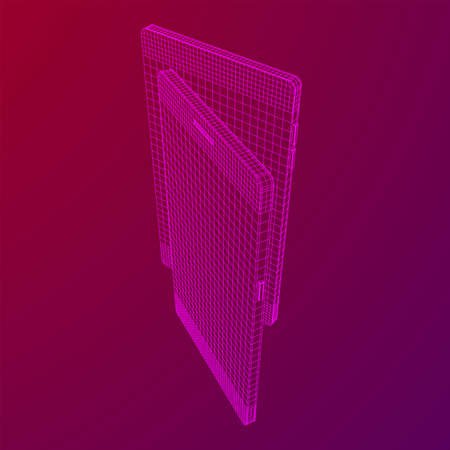 Smartphone mobile touch screen display. Polygonal geometric design connected lines. Wireframe low poly mesh vector illustration.