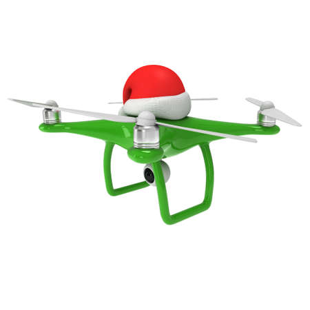 Remote control air drone. Drone flying with action video camera and christmas hat. 3d render illustration on white