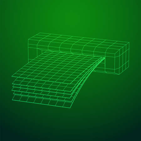 ATM insert cash withdrawal. Dollar banknotes in automated teller machine slot. Financial transaction, e-payment concept. Quick cash, money wireframe low poly mesh vector illustration. Ilustrace