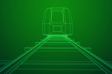 Modern high speed train on straight rails. Railway wireframe low poly mesh vector illustration Фото со стока - 133686279