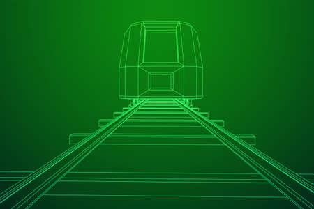 Train à grande vitesse moderne sur rails droits. Illustration vectorielle de chemin de fer filaire low poly mesh Vecteurs