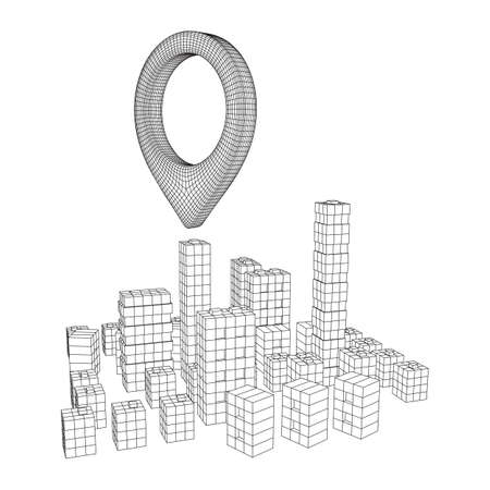 Geo map pin on Mesh low poly wireframe cubes array like skyscraper city. Connected lines town. Connection Box Structure. Digital Data Visualization Concept. Vector Illustration.. Place GPS pictogram. Ilustrace