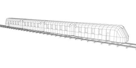 Modern high speed train on straight rails. Railway wireframe low poly mesh vector illustration Фото со стока - 133686288