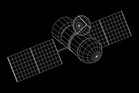 Space station communications satellite. Wireframe low poly mesh vector illustration. Фото со стока - 133777077