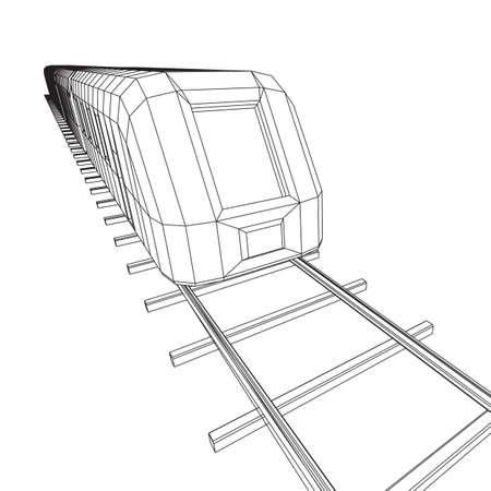 Tren moderno de alta velocidad sobre raíles rectos. Ilustración de vector de malla de polietileno baja estructura metálica de ferrocarril