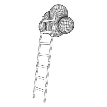 Concept of cloud with step ladder technology. Wireframe low poly mesh vector illustration