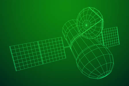 Space station communications satellite. Wireframe low poly mesh vector illustration. Фото со стока - 133777219