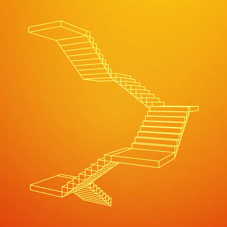 Wireframe stairs, interior staircases steps. Wireframe low poly mesh vector illustration.