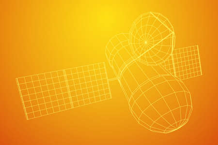 Space station communications satellite. Wireframe low poly mesh vector illustration. Фото со стока - 133853603