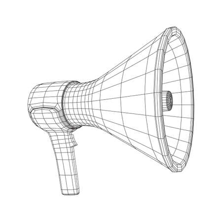 Megaphone or bullhorn for amplifying voice for protests rallies or public speaking. Wireframe low poly mesh vector illustration