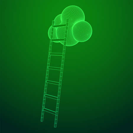 Concept of cloud with step ladder technology. Wireframe low poly mesh vector illustration 版權商用圖片 - 134050943