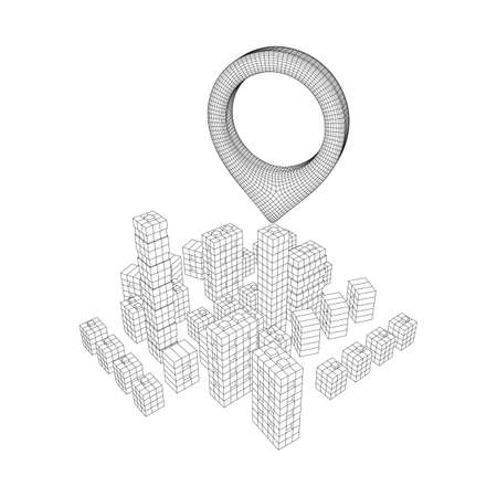 Geo map pin on Mesh low poly wireframe cubes array like skyscraper city. Connected lines town. Connection Box Structure. Digital Data Visualization Concept. Vector Illustration.. Place GPS pictogram. Illustration