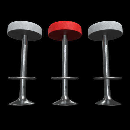 Retro red vintage bar stool. High chair. Bar interior design. 3d render on black background