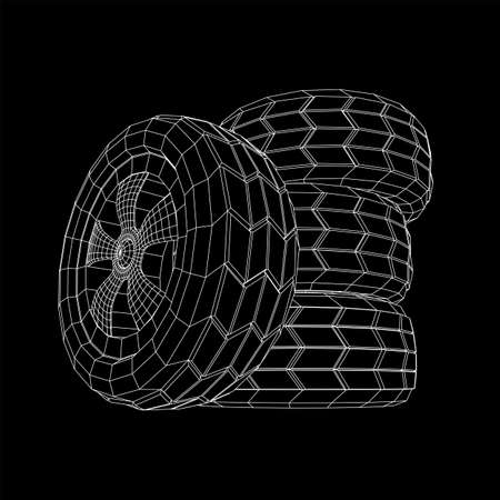 Automobile rubber car wheel tire and rim. Wireframe low poly mesh vector illustration. Auto service repair concept.