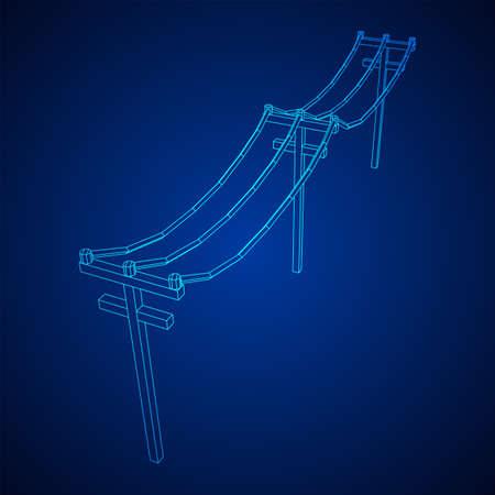 Power transmission high voltage pylon. Wireframe low poly mesh vector illustration 向量圖像