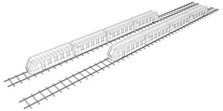 Modern high speed train on straight rails. Railway wireframe low poly mesh vector illustration Ilustración de vector