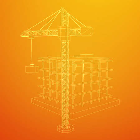 Building under construction with crane. Build house construct in process. Wireframe low poly mesh vector illustration Çizim