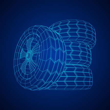 Autogummireifen und -felge. Drahtmodell Low-Poly-Mesh-Vektor-Illustration. Auto-Service-Reparatur-Konzept.