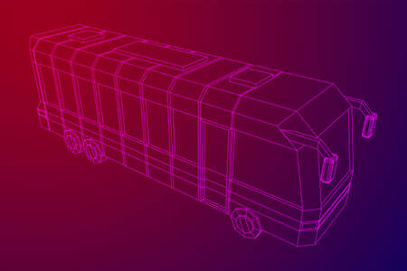 City bus. Wireframe low poly mesh vector illustration. Travel or transportation concept. Zdjęcie Seryjne - 134559165