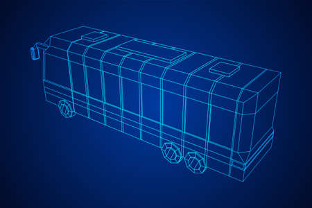 City bus. Wireframe low poly mesh vector illustration. Travel or transportation concept. Zdjęcie Seryjne - 134559167