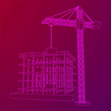 Building under construction with crane. Build house construct in process. Wireframe low poly mesh vector illustration Ilustrace