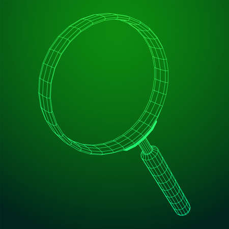 Magnifying glass. Business search concept. Wireframe low poly mesh vector illustration