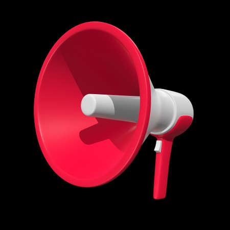 Megaphone or bullhorn for amplifying voice for protests rallies or public speaking. 3d render on black background