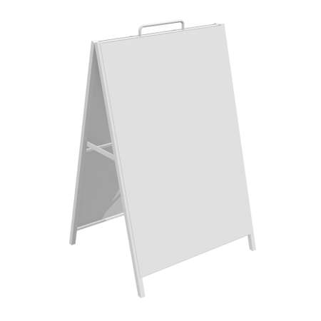Sandwich board. Blank menu outdoor display with clipping path. Trade show booth white and blank. 3d render isolated on white background. High Resolution Template for your design. Stock fotó