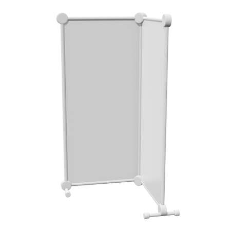 Blank Roll Up fold up Banner Stands. Trade show booth white and blank. 3d render isolated on white background. High Resolution Template for your design.