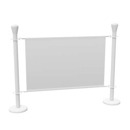 Blank Banner Stand. Trade show booth white and blank. 3d render isolated on white background. High Resolution Template for your design.
