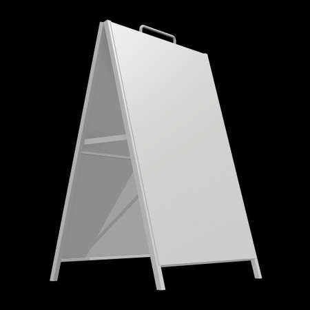 Sandwich board. Blank menu outdoor display with clipping path. Trade show booth white and blank. 3d render on black background. High Resolution Template for your design. Stock fotó